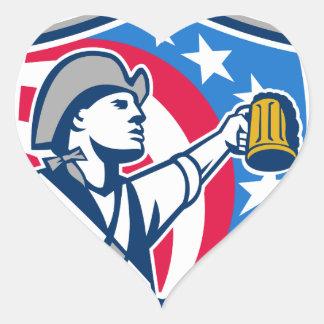 American Patriot Craft Beer Mug USA Flag Crest Ret Heart Sticker