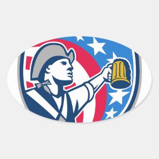 American Patriot Craft Beer Mug USA Flag Crest Ret Oval Sticker