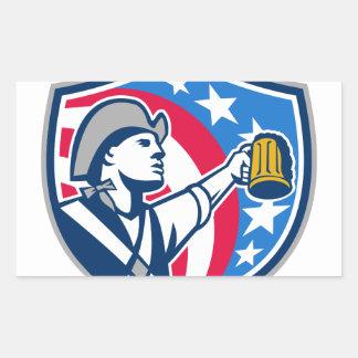 American Patriot Craft Beer Mug USA Flag Crest Ret Rectangular Sticker