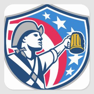 American Patriot Craft Beer Mug USA Flag Crest Ret Square Sticker