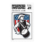 American Patriot Drummer With Flag Postage Stamp