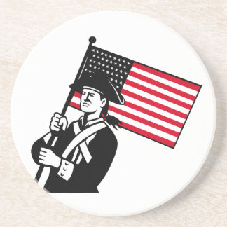 American Patriot Holding Flag Retro Drink Coaster