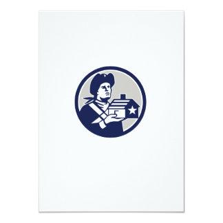 American Patriot Holding House Circle Retro Card
