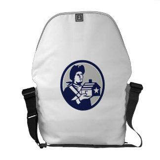 American Patriot Holding House Circle Retro Messenger Bag