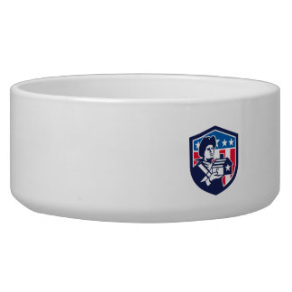 American Patriot Holding House Flag Crest Retro Bowl