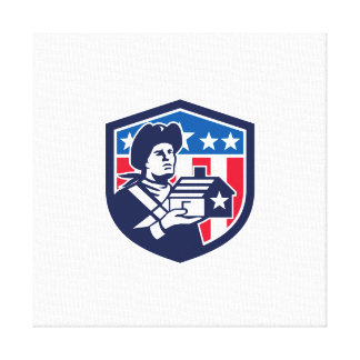 American Patriot Holding House Flag Crest Retro Canvas Print