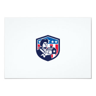 American Patriot Holding House Flag Crest Retro Card