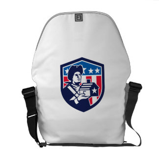 American Patriot Holding House Flag Crest Retro Courier Bag