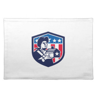 American Patriot Holding House Flag Crest Retro Placemat