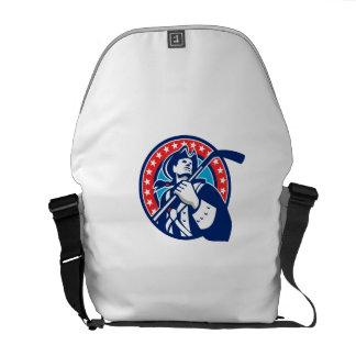 American Patriot Ice Hockey Stick Circle Retro Messenger Bag