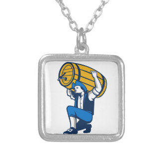 American Patriot Lifting Beer Keg Isolated Retro Square Pendant Necklace