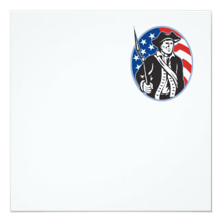 """American Patriot Minuteman With Bayonet Rifle And 5.25"""" Square Invitation Card"""