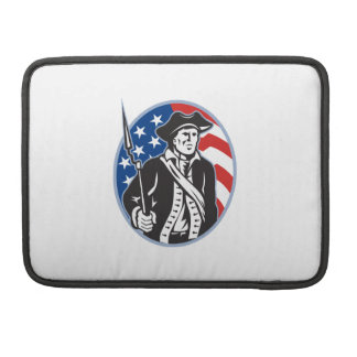 American Patriot Minuteman With Bayonet Rifle And MacBook Pro Sleeves