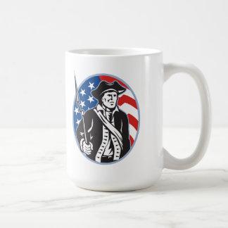 American Patriot Minuteman With Bayonet Rifle And Mug