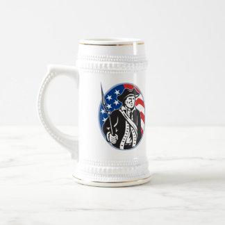 American Patriot Minuteman With Bayonet Rifle And Mugs