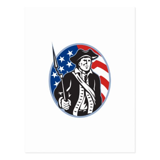 American Patriot Minuteman With Bayonet Rifle And Postcard