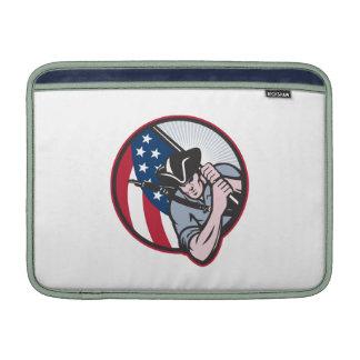 American Patriot Minuteman With Flag MacBook Air Sleeve