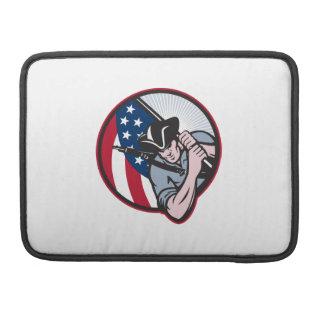 American Patriot Minuteman With Flag MacBook Pro Sleeve