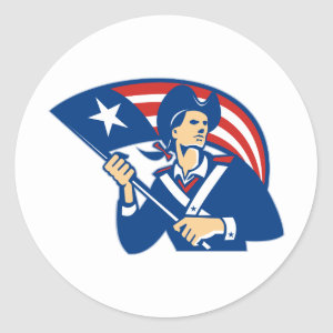 American Patriot Minuteman With Flag Retro Classic Round Sticker