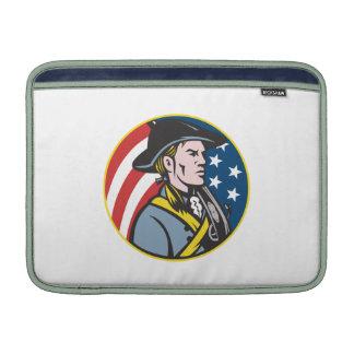 American Patriot Minuteman With Flag Retro MacBook Sleeves