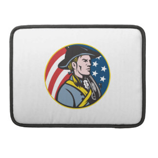 American Patriot Minuteman With Flag Retro MacBook Pro Sleeve