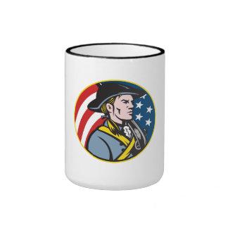 American Patriot Minuteman With Flag Retro Mug