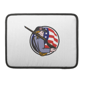 American Patriot Minuteman With Rifle And Flag MacBook Pro Sleeves