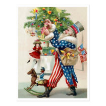 American Patriot, Santa Claus, Christmas decorate Postcard