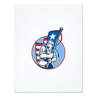 American Patriot Serviceman Soldier Flag Retro Card