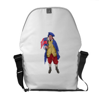 American Patriot Shouting Holding Flag Watercolor Courier Bag