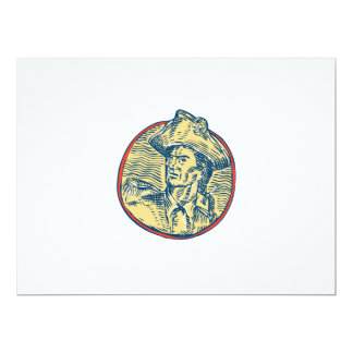 American Patriot Side Circle Etching 6.5x8.75 Paper Invitation Card