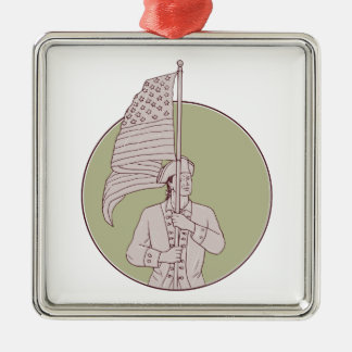 American Patriot Standing USA Flag Circle Drawing Metal Ornament