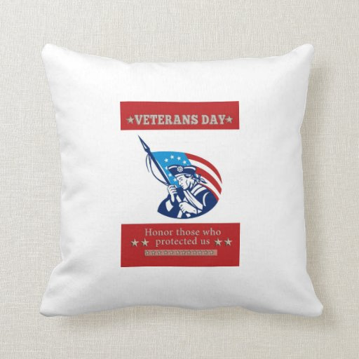 American Patriot Veterans Day Poster Greeting Card Pillow