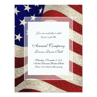 American Patriot Vintage Stars and Stripes US Flag 4.25x5.5 Paper Invitation Card