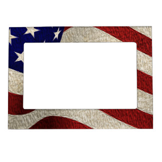 American Patriot Vintage Stars and Stripes US Flag Magnetic Picture Frame
