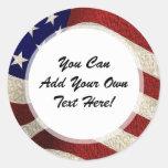 American Patriot Vintage Stars and Stripes US Flag Round Sticker
