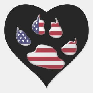 American patriotic dog heart sticker
