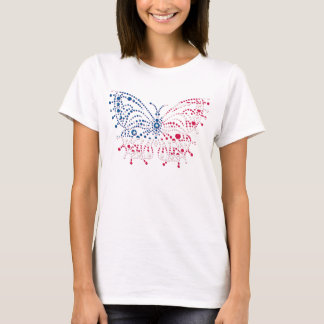American Patriotic Dots Butterfly Flag T-Shirt