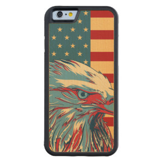 American Patriotic Eagle Flag Carved Maple iPhone 6 Bumper Case