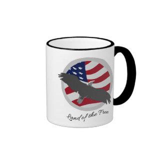 American Patriotic Eagle - Land of the Free Ringer Mug
