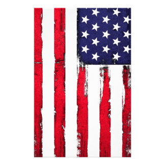 American Patriotic Grunge flag Stationery