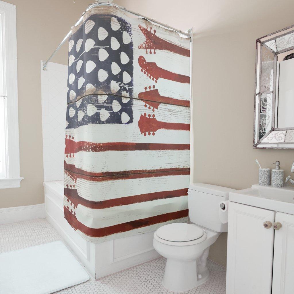 American Patriotic Guitar Music Shower Curtain