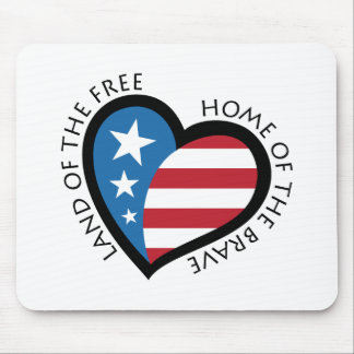 American patriotic heart - Land of the free Mouse Pad