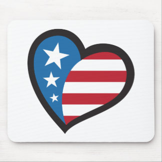 American patriotic heart mouse pad