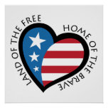 American patriotic heart poster.