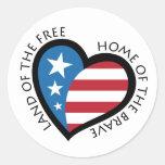 American patriotic heart stickers