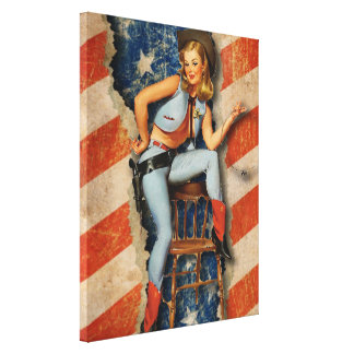 American Patriotic Naughty PinUp CowGirl art Canvas Print