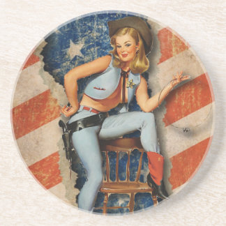 American  Patriotic Naughty PinUp CowGirl coaster