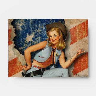 American Patriotic Naughty PinUp CowGirl Envelopes