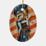 American  Patriotic Naughty PinUp CowGirl ornament